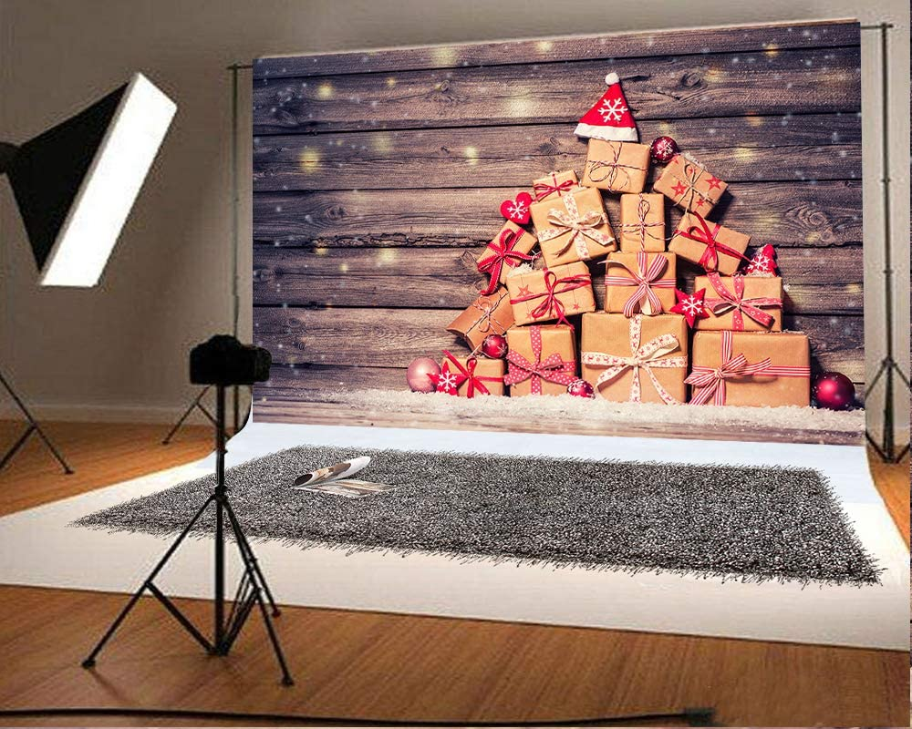 10x6.5ft Christmas Decor Wood Wall Photography Backdrops Pine Board Photo Background Xmas Microfiber Soft Fabric Backdrop for Photoshoot