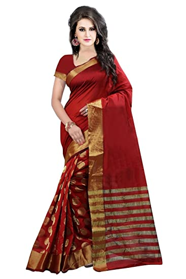 1f6b34d09c3fca PerfectBlue Cotton Silk Saree with Blouse Piece (Pbred Goli Red Free Size)