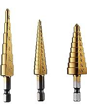 Step Drill Bit,Knoweasy 3pcs High Speed Steel Drill Bit for Metal Aluminium and Wood Drilling Hole