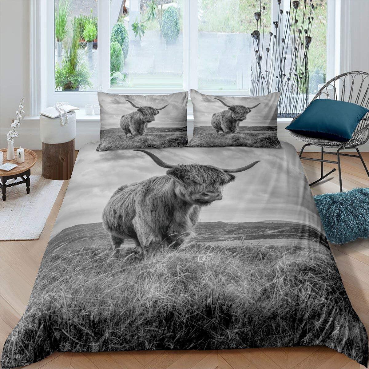 Erosebridal Recommended Highland low-pricing Cow Bedding Set Cove Size King Duvet Cattle