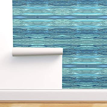 Spoonflower Peel And Stick Removable Wallpaper Ocean Waves Blue Aqua Modern Wavy Sea Caribbean Atlantic Turquoise Print Self Adhesive Wallpaper 24in X 144in Roll Amazon Com