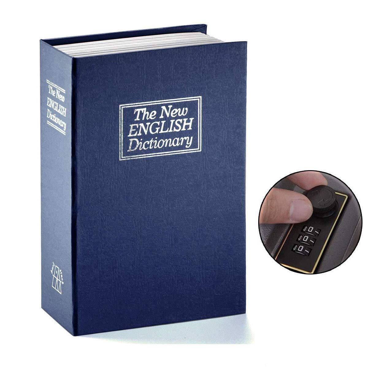 Langtor Cassaforte a forma di libro con lucchetto a combinazione dizionario Diversione salvadanaio, Portable Safe box, ideale per conservare denaro, Blue, small