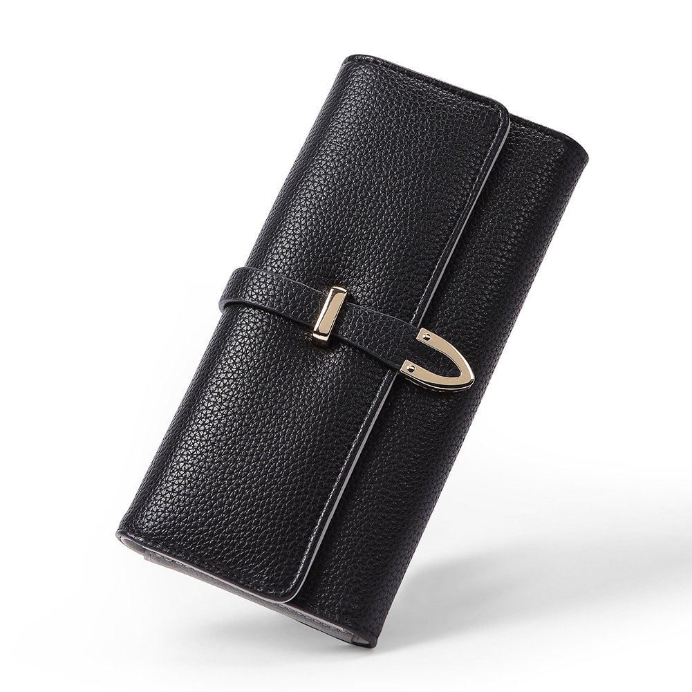 Wallet for Women Leather Large Capacity Trifold Checkbook Card Holder Organizer with Snap Closure Ladies Clutch black