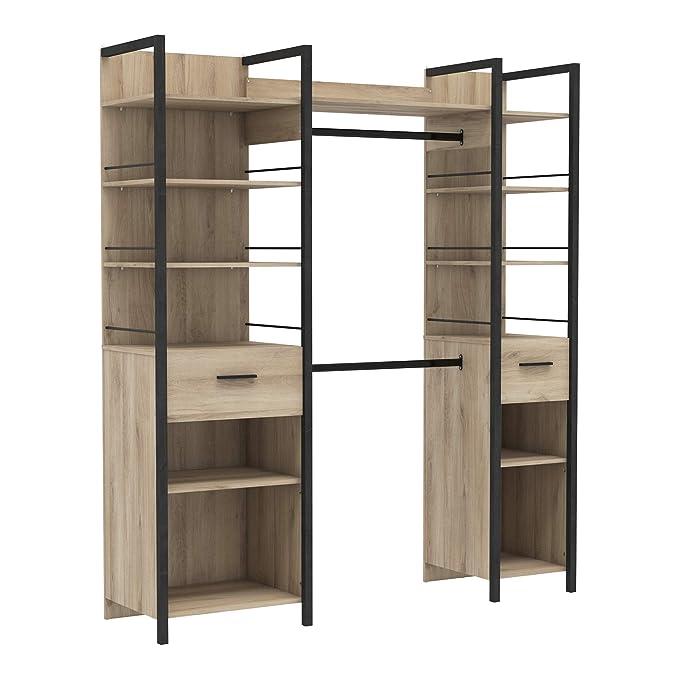 Kleiderschrank #5077 WEISS begehbar offen Garderobe Schrank Regal Schlafzimmer