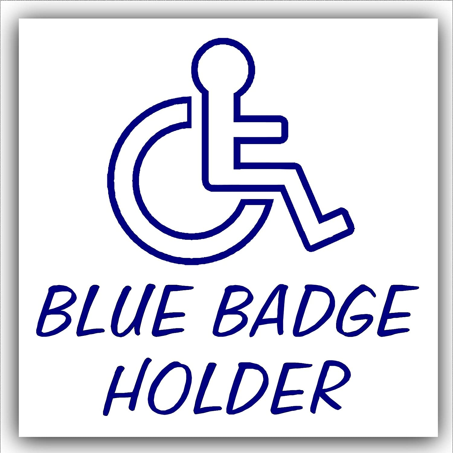 Blue Badge Holder-EXTERNAL OUTLINE DESIGN-Disabled Car Sticker -Disability Wheelchair- Mobility Self Adhesive Sign Platinum Place