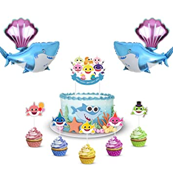 Baby Cute Shark Party Decorations Includes 1 Big Cake Topper 20 Cupcake Toppers 2