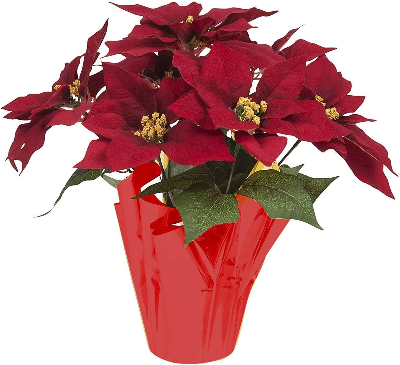 Amazon Com 16 Inch Poinsettia Flowers Plant Pot Artificial Red Christmas Poinsettias Silk With Gold Foil Wrap For Home Garden Decorations Kitchen Dining