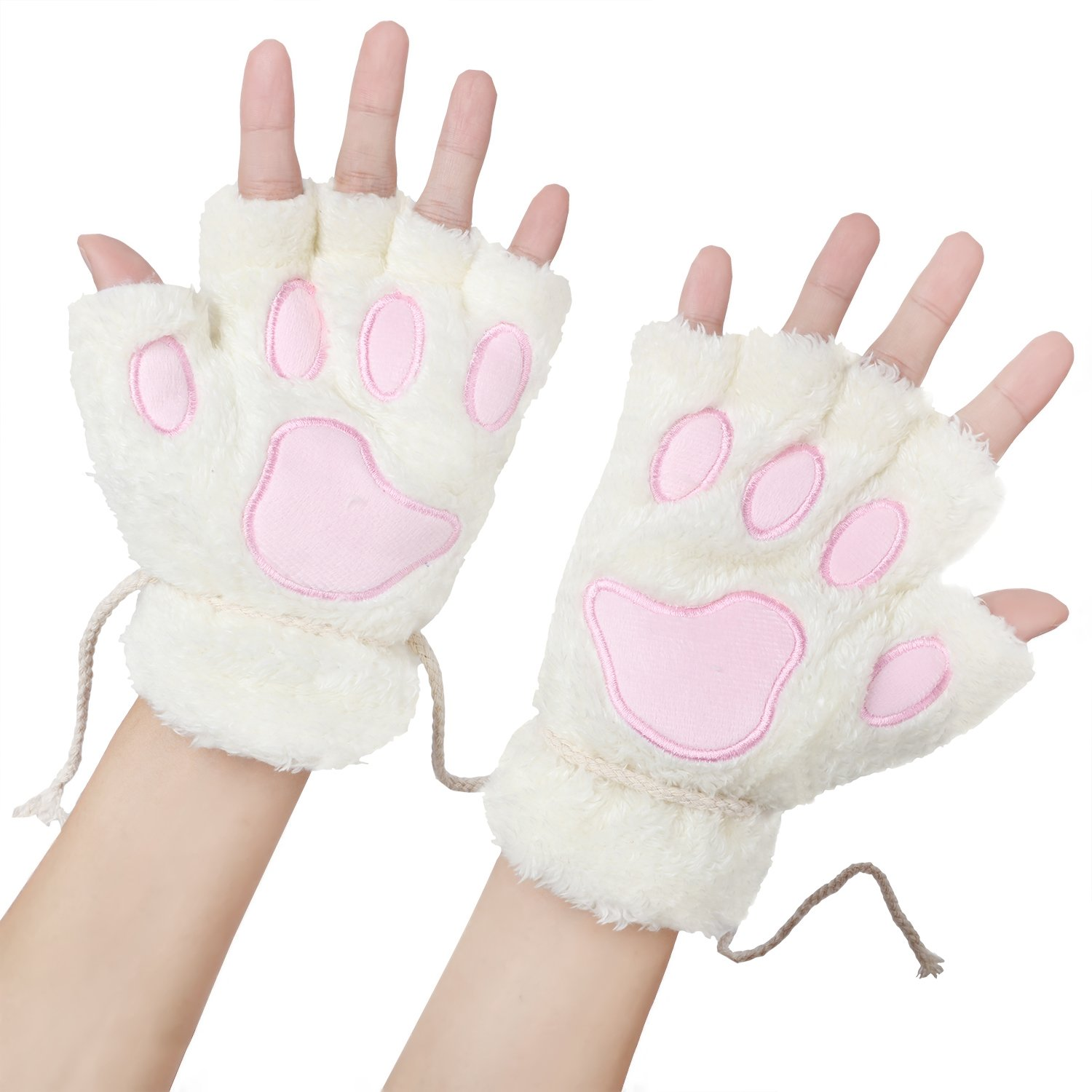 Womens Bear Plush Cat Paw Claw Glove Soft Winter Fingerless Mitten Gloves