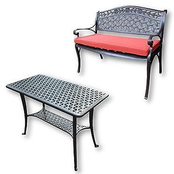 Lazy Susan - Mesa de Apoyo para Barbacoa y Banco Rose - Muebles de jardín en