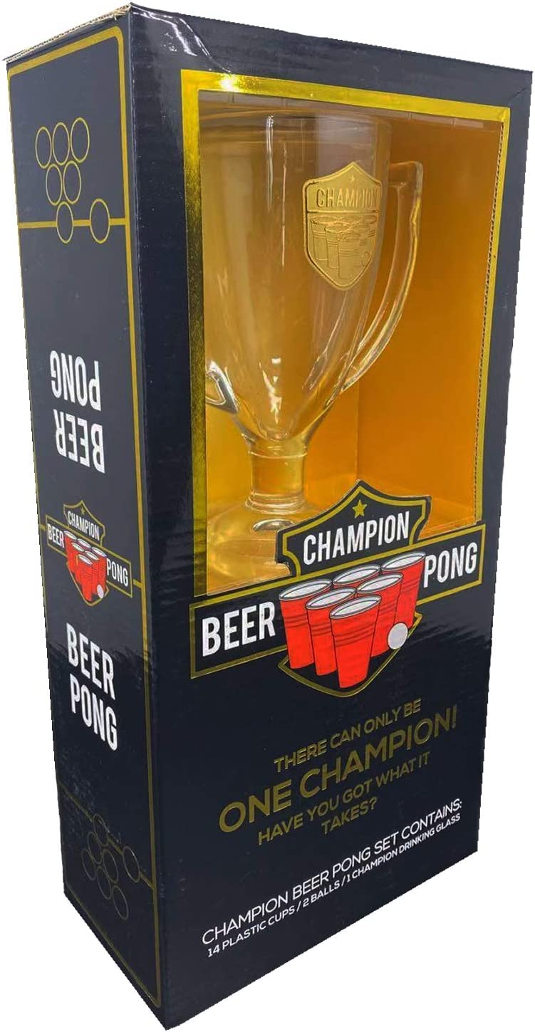 OriginalCup/® Original Official Champion Beer Pong Kit Party Game 1 Glass Trophy Drinking Game 2 Balls Premium Quality 14 Red and Blue Cups Complete Beer Pong Kit