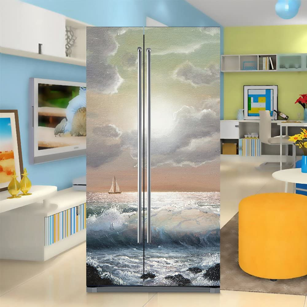 yazi Side-by-Side Refrigerator Full Door Cover Decal Vinyl Removable Sticker Kitchen Art Décor Ship and Wave 20x71 inches by 2 Pieces