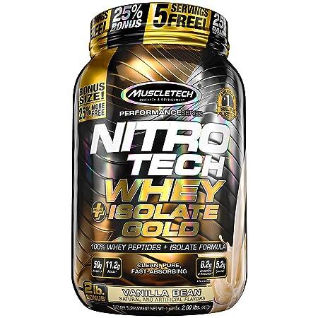 MuscleTech NitroTech Whey Plus Isolate Gold, Vanilla Bean, 2 Pound