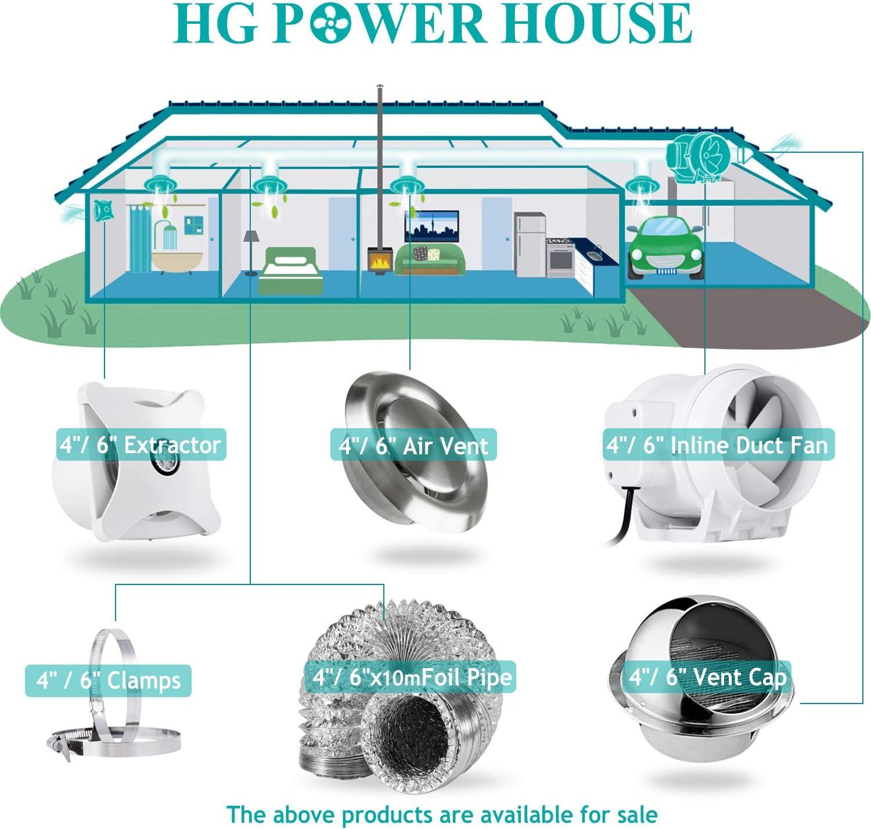 HG POWER 4 Bouche Extraction en Acier Inoxydable Grille dA/ération Anti-Insectes Grille Ventilation Hotte Murale Ronde Grille de ventilation
