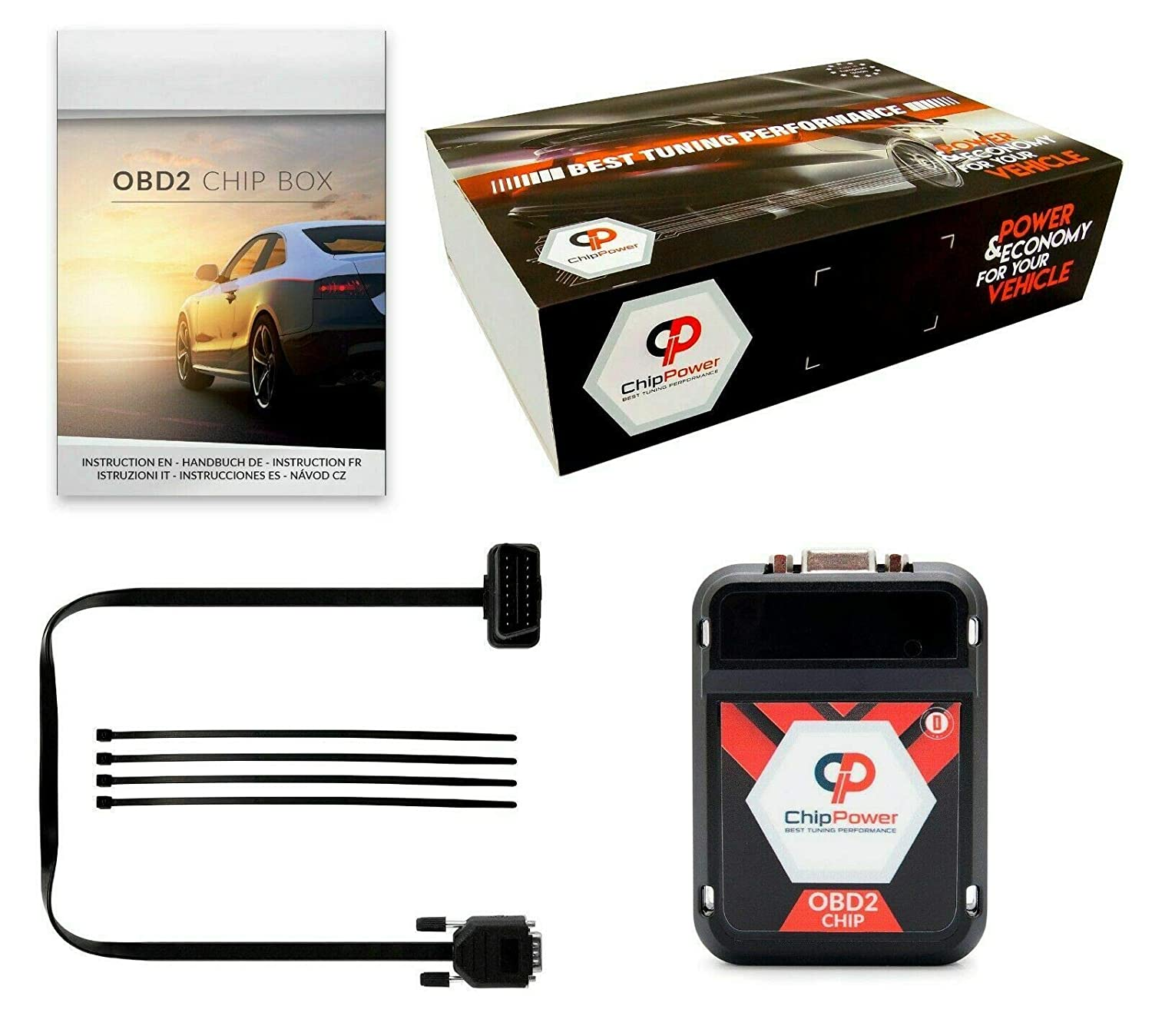 Chiptuning ChipPower OBD2 v3 f/ür Giulia 2.2 D 209PS 2015 Chip Box Tuning Diesel