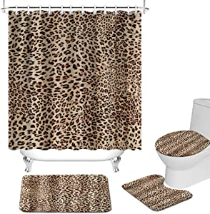 FuShvre 4 Pcs Leopard Shower Curtain Set Powerful Wild Animal Skin Pattern Shower Curtain Set with Non-Slip Rug Toilet Lid Cover Bath Mat Safari Fabric Bathroom Decor Hooks Included Brown Black