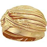 Surkat Unisex Metallic Arab India Pleated Turban Headwrap Swami Hat Costume Hat Chemo Cap