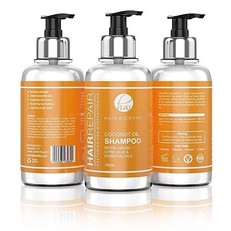 Hairworthy Hairrepair Shampoo / Champú De Aceite De Coco – BIOTINA, NIACINA, ÁCIDO CÍTRICO Y ACEITES ESENCIALES.
