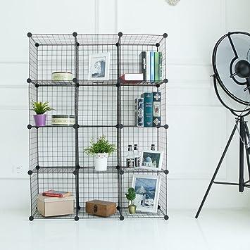 Newdora Wire Storage Cubes, Wire Grids Cube Closet Organizer Shelf Cabinet  Bookcase, Free Standing