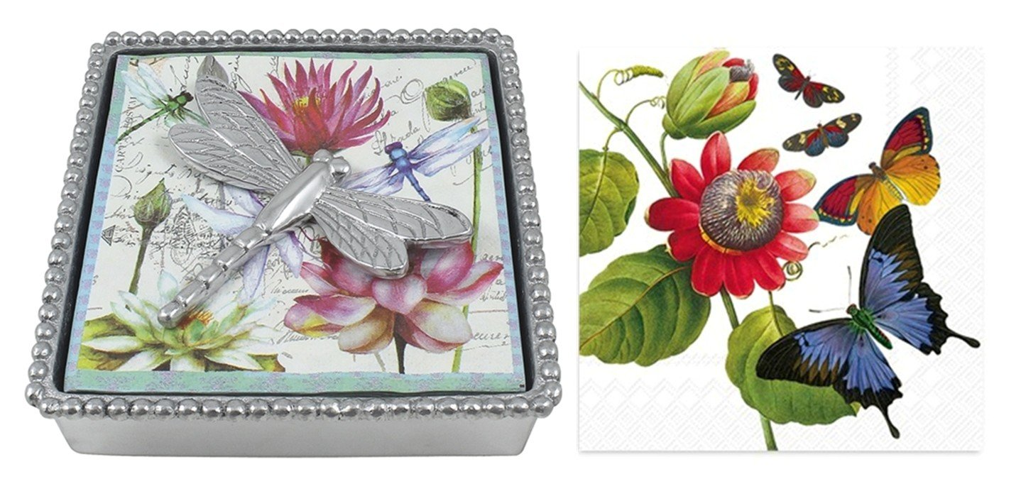 Mariposa Beaded Napkin Box with Dragonfly Napkin Weight & 2 sets of Napkins by Mariposa