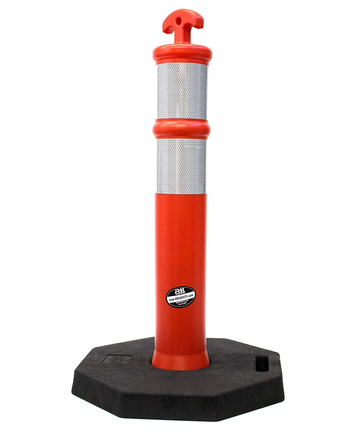 28 Height Pack of 10, Orange RK DPOST2T Polyethylene Portable Delineator Small Post with 13 lbs Recycled Octagonal Rubber Base