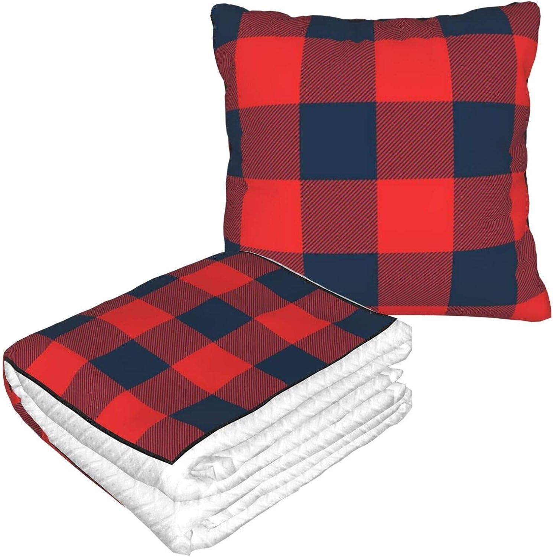 Manta y almohada rústica, diseño de búfalo rojo y azul marino a cuadros cálido y suave, plegable, 2 en 1, para casa, oficina, avión, camping, viajes en coche