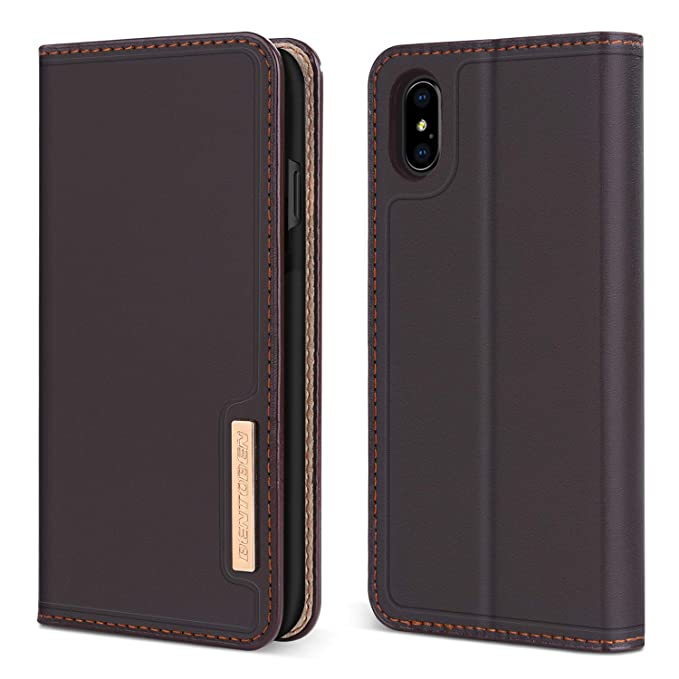 super popular cb160 0d22f BENTOBEN Wallet Case for iPhone XS Max, Kickstand Genuine Leather Folio  Flip Lightweight & Slim Fit Business Men Protective Case with Credit Card  Slot ...