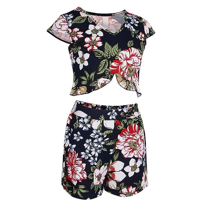 MagiDeal 2x Pelele de Dos Piezas Mujeres Florales Crop Top Shorts Verano Playa Conjuntos: Amazon.es: Ropa y accesorios