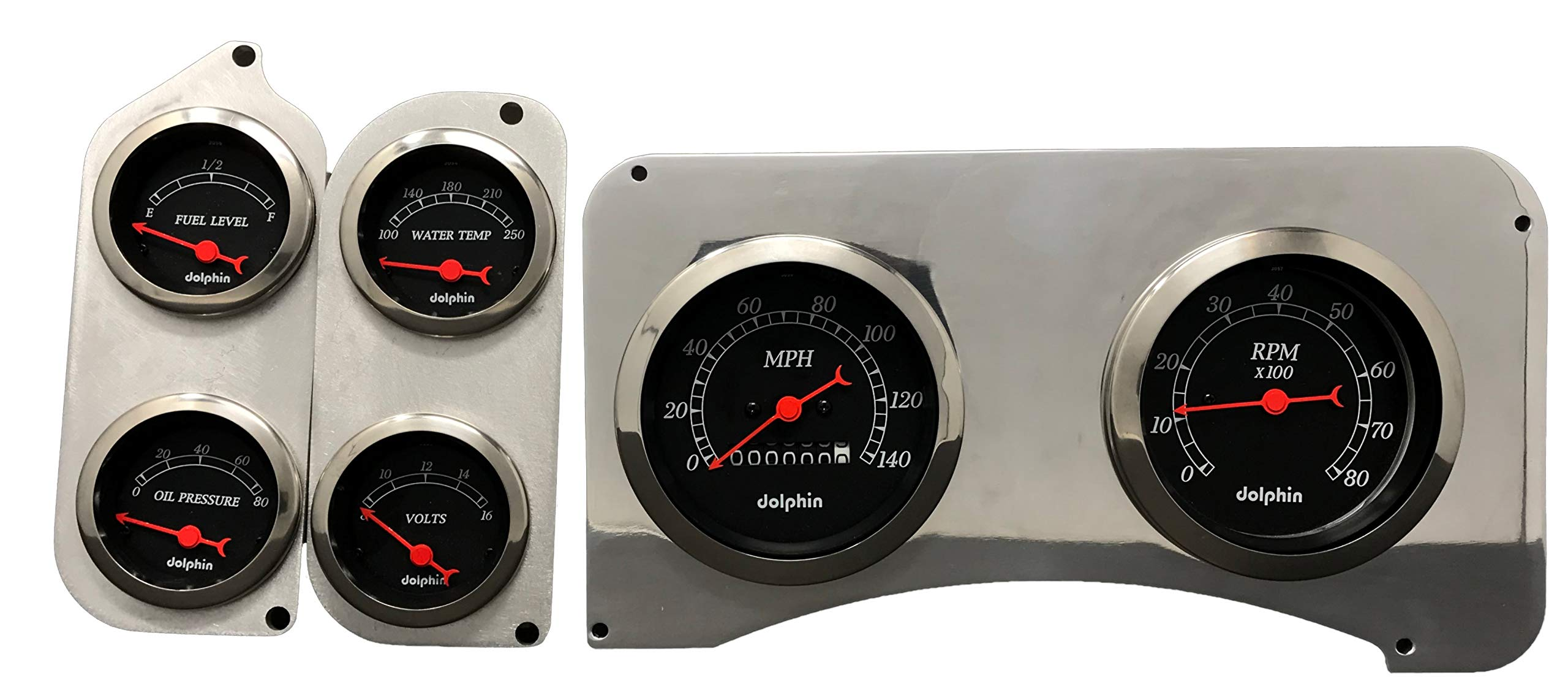Dolphin Gauges 1973 1974 1975 1976 1977 1978 1979 1980 Chevy Truck 6 Gauge Dash Cluster Panel Set Mechanical Black by Dolphin Gauges
