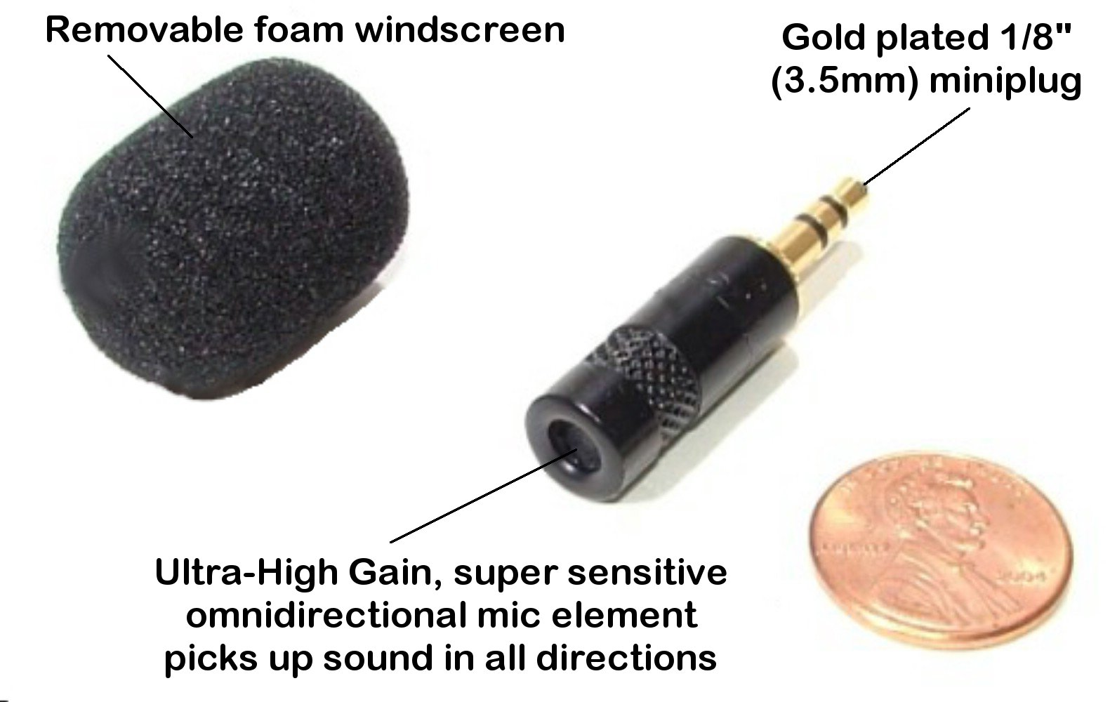 Master Series by Sound Professionals - Ultra-high sensitivity miniature omnidirectional microphone for Steno machines, laptops and digital recorders - Made in USA
