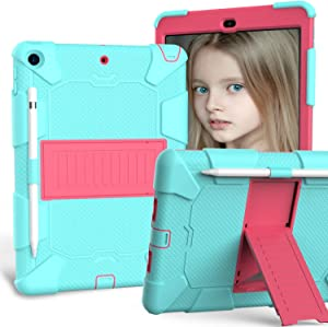 HLHGR iPad 8th Generation Case, iPad 7th Generation Case iPad 10.2 case Heavy Duty Drop Protection Rugged Case with Pencil Holder Built-in Kickstand for iPad 10.2 inch 2019/2020 Aqua