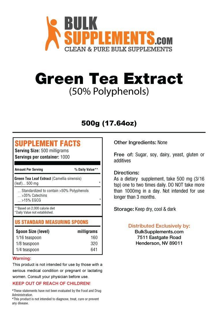 BulkSupplements Green Tea 50% Polyphenols Powder (500 Grams)