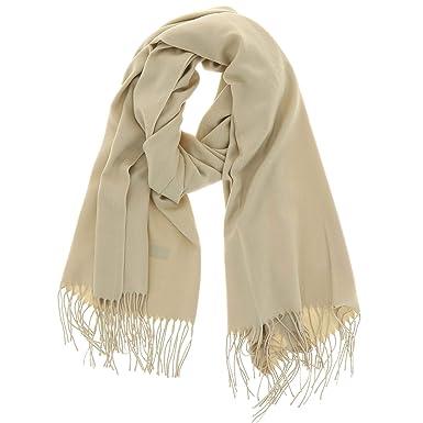 FASHIONGEN - Echarpe pashmina homme et femme douce en laine, BACHRA - Beige c1e2259813a
