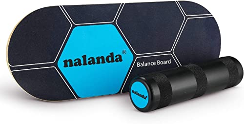 NALANDA Balance Board Stability Core Trainer, Professional Roller Board with Anti-Slip Surface Solid Wood Board for Daily Exercise, Athletic Training and Board Sports