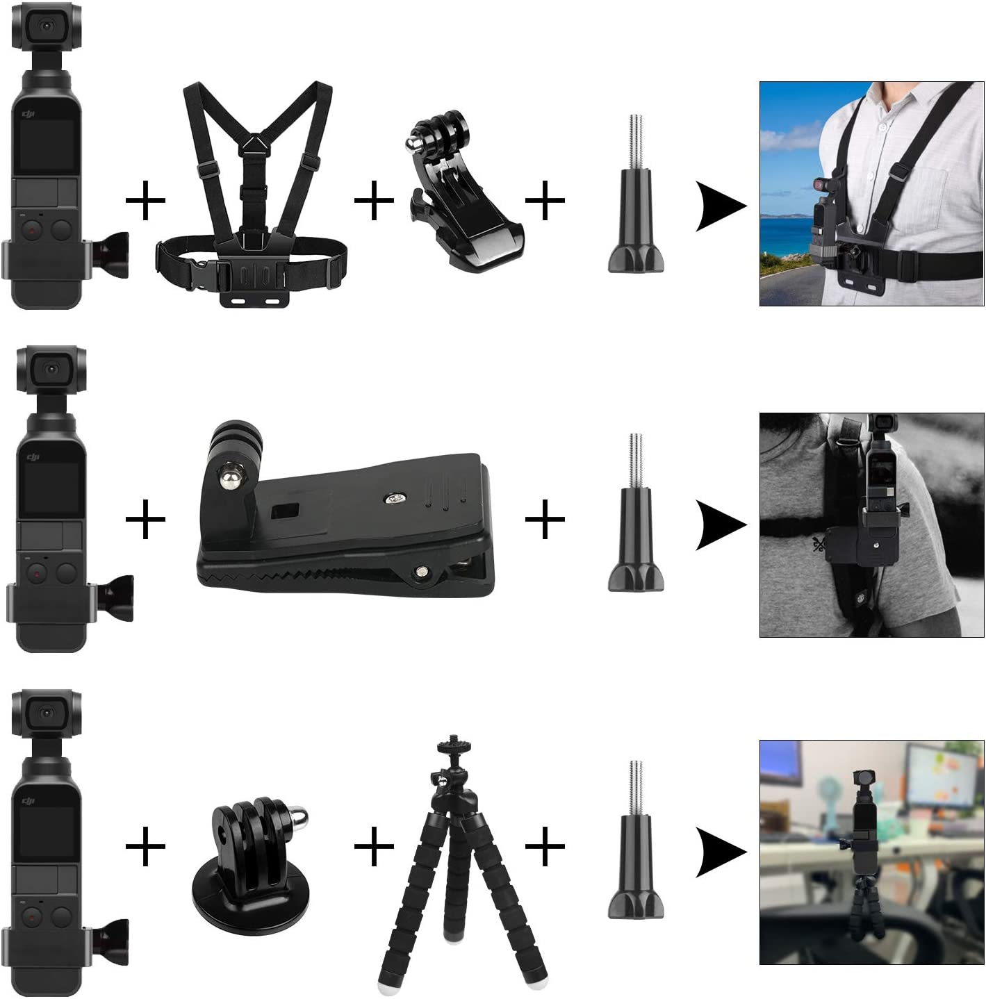 Handheld Phone Holder Chest Strap Backpack Clip Tripod Bracket Bike Mount Suction Cup Mount Compatible with OSMO Pocket Handheld Gimbal Camera KUUQA Expansion Accessories Kit for Osmo Pocket