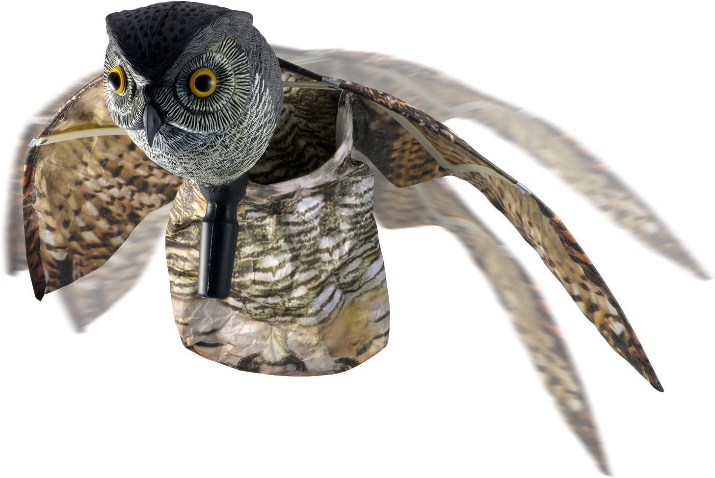 Skycabin natural espantapájaros falsos búho pest disuasión con las alas en movimiento - aves de miedo, roedores, plagas lejos