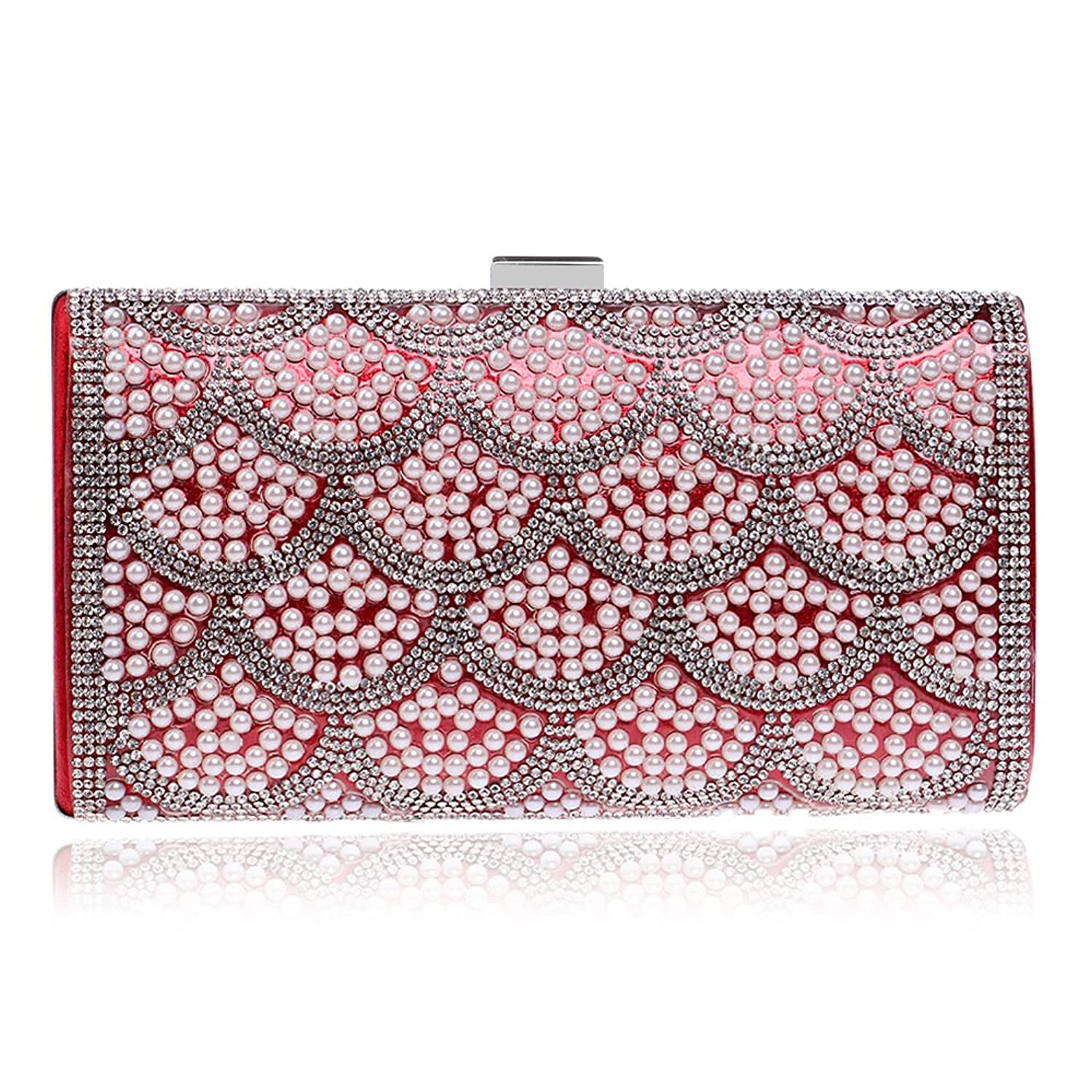Ladies Red Evening Wedding Bride Bridal Beading Crystal Clutch Bag Party Prom Handbag