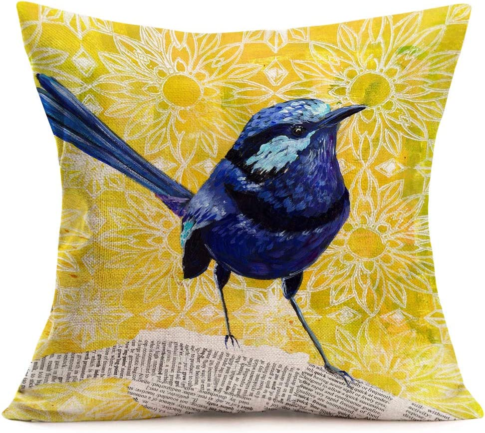 """Tlovudori Oil Painting Blue Robin Bird Throw Pillow Covers Yellow Background Lovely Animal with Chrysanthemum Pattern Cotton Linen Decorative Cushion Case Cover 18""""x18"""" for Sofa (Blue Robin Bird)"""