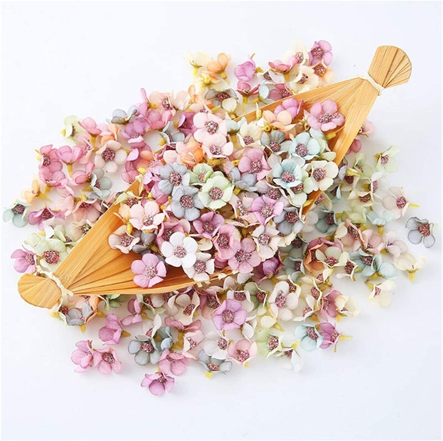 xiaofeng214 100pcs/Lot 2cm Multicolor Daisy Flower Head Mini Silk Artificial Flower for Crown Scrap Wedding Home Decor DIY Garland Headdress