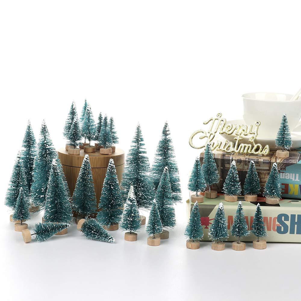 LouisaYork Miniature Christmas Tree,Christmas Mini Table Tree,34Pcs,Mini Sisal Snow Frost Trees Micro Scenery Landscape for Christmas Crafts Tabletop Decor
