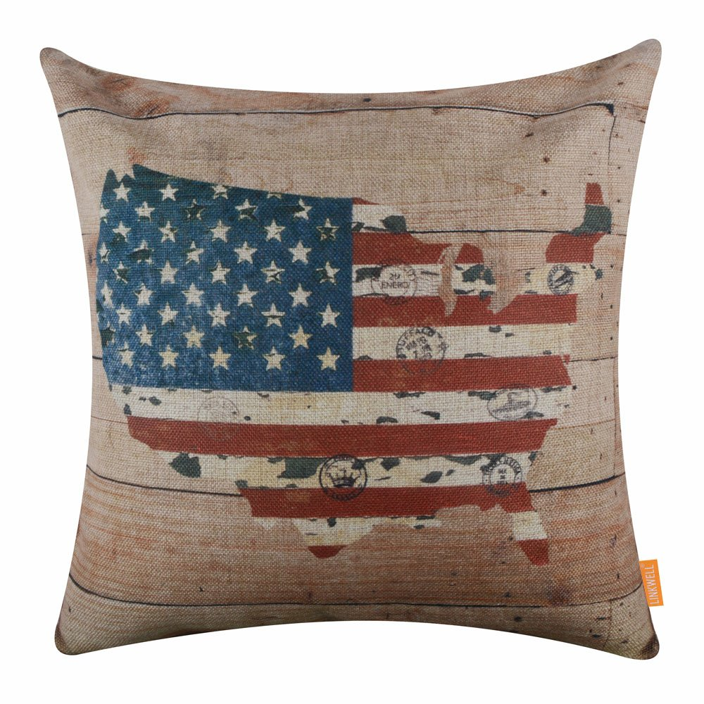 LINKWELL 18''x18'' Independence Day Wood America Map Holiday Burlap Pillow Cover Cushion Cover CC1500