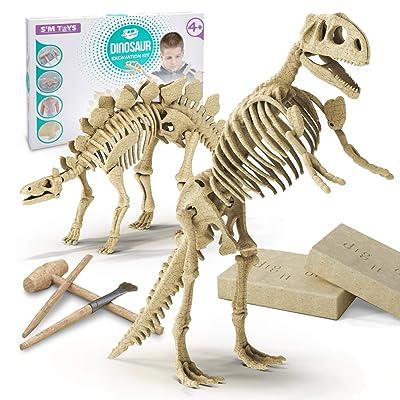Educational Dinosaur Digging Fossil Skeleton Kit for Kids Velociraptors Beige Tyrannosaurus 4 in 1 Jumbo Kit Triceratops 4 Different Dinosaurs: Diplodocus