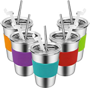 Kids Cups with Straws and Lids - 12 oz. Spill-proof Stainless Steel Kids Tumblers with Lids and Straws, Toddler Cups with Straws with Heat-insulated Sleeves, Cups with Lids and Straws for Kids 5 Pack