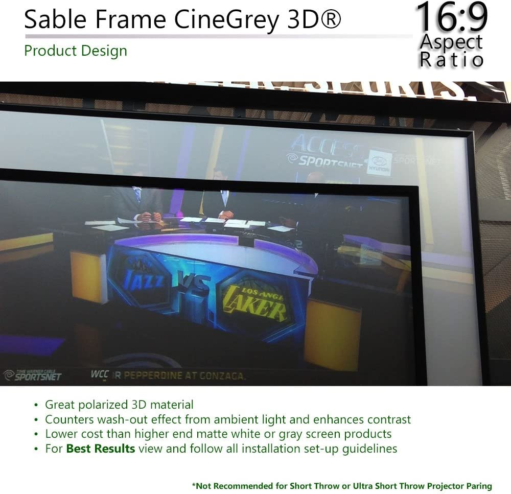 16:9 110-Inch Diag Elite Screens ER110DHD3 Sable Frame Ambient Light Rejecting ALR Fixed Frame Projector Projection Screen