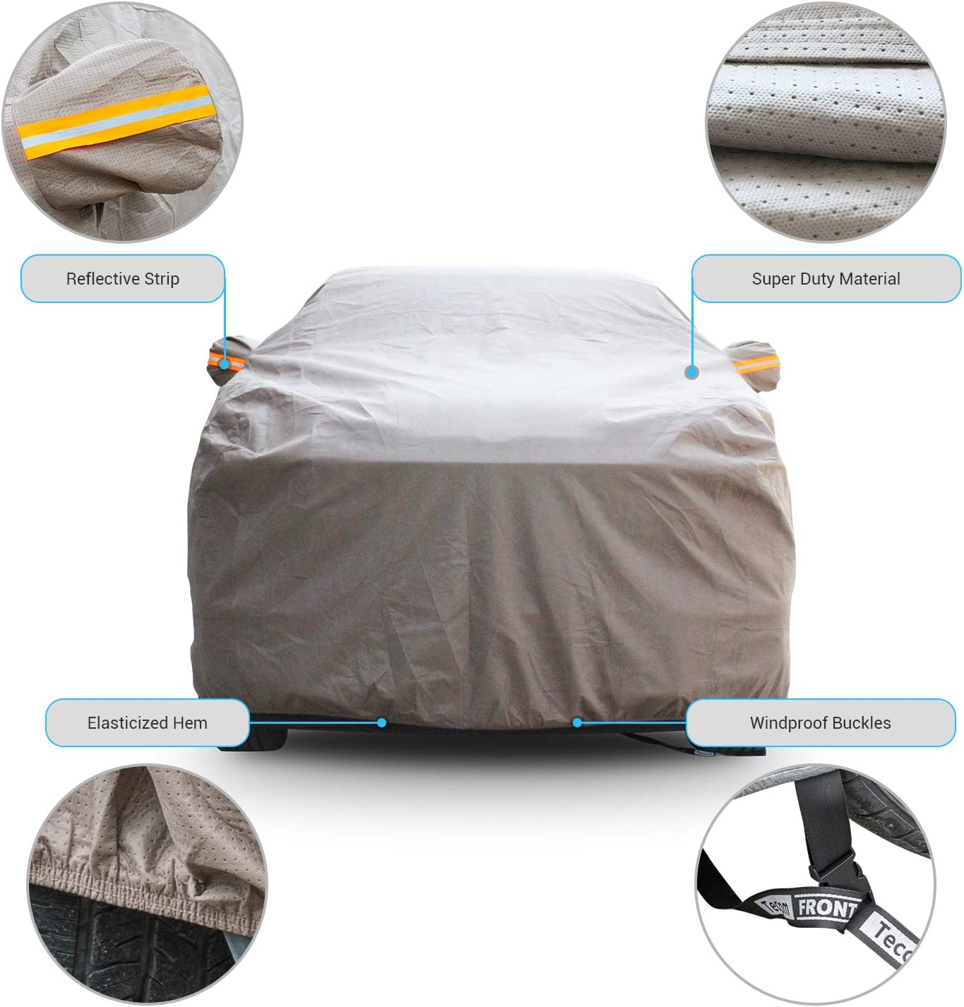 Tecoom Thick Shell Truck Pickup Cover Breathable Waterproof Windproof with Straps and Buckles Antenna Patch All Season Weather-Proof Fit Full Size Truck Length Up to 245 Inches