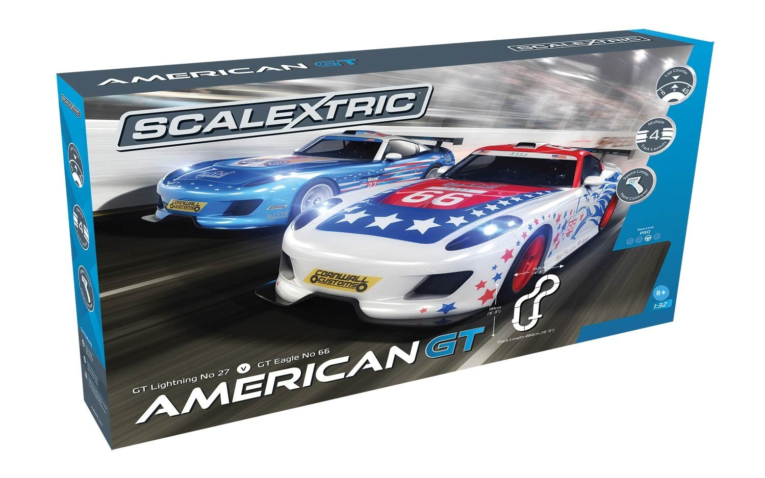 Scalextric America GT 1:32 Slot Car Race Track C1361T Playset by Scalextric