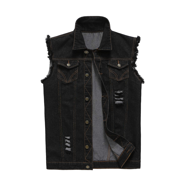 NASKY Men's Fit Retro Ripped Denim Vest Sleeveless Jean Vest and Jacket (US Large, Black) by NASKY