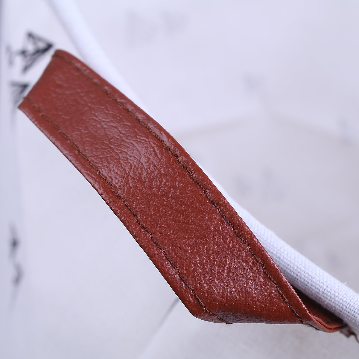 Fyore Faltbar Gro/ß W/äschekorb W/äschesack Canvas Leinen Original Leder Griff Dreieckig Design 62x50cm Blaue Bl/öcke