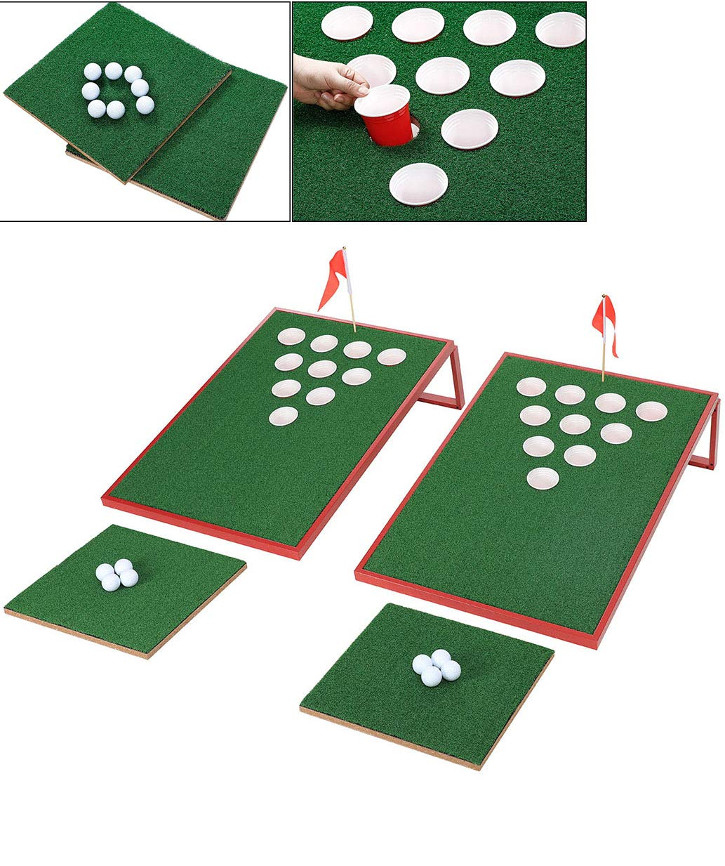 SPRAWL Golf Pong Set - Two Boards - Exciting Game for Golf Enthusiasts and Beginners Red