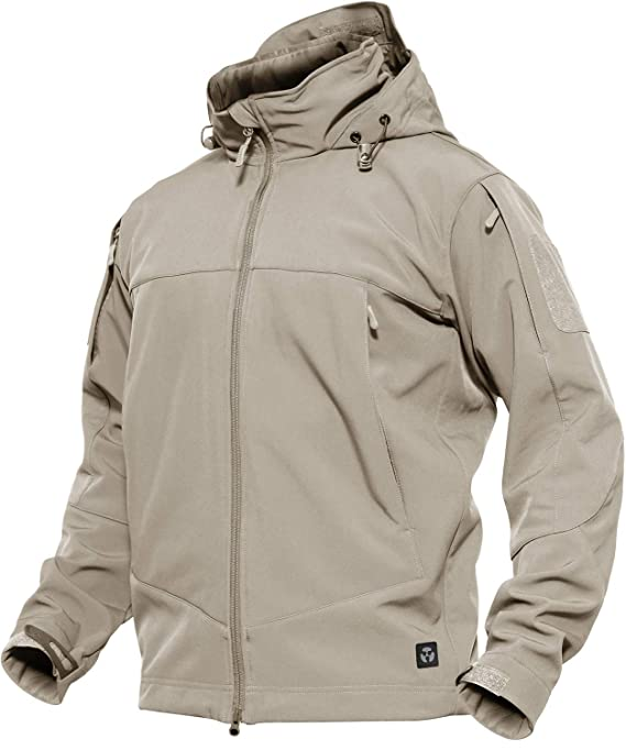 TACVASEN Antivento Giacca in Pile da Uomo Outdoor Militare Caldo Cappotto