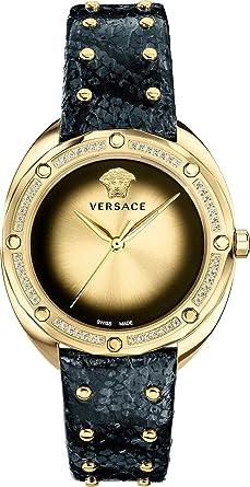 Versace VEBM01118 - Reloj de Cuarzo para Mujer con Piel de Serpiente, Color Negro